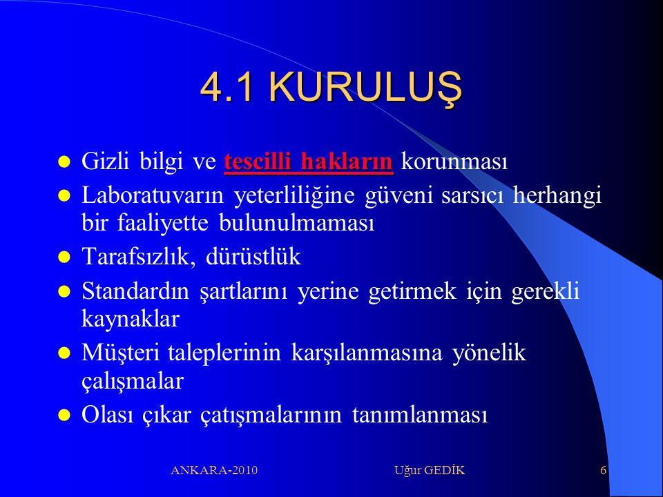 ANKARA-2010 Uğur GEDİK6 4.1 KURULUŞ tescilli hakların Gizli bilgi ve tescilli hakların korunması Laboratuvarın yeterliliğine güveni sarsıcı herhangi b