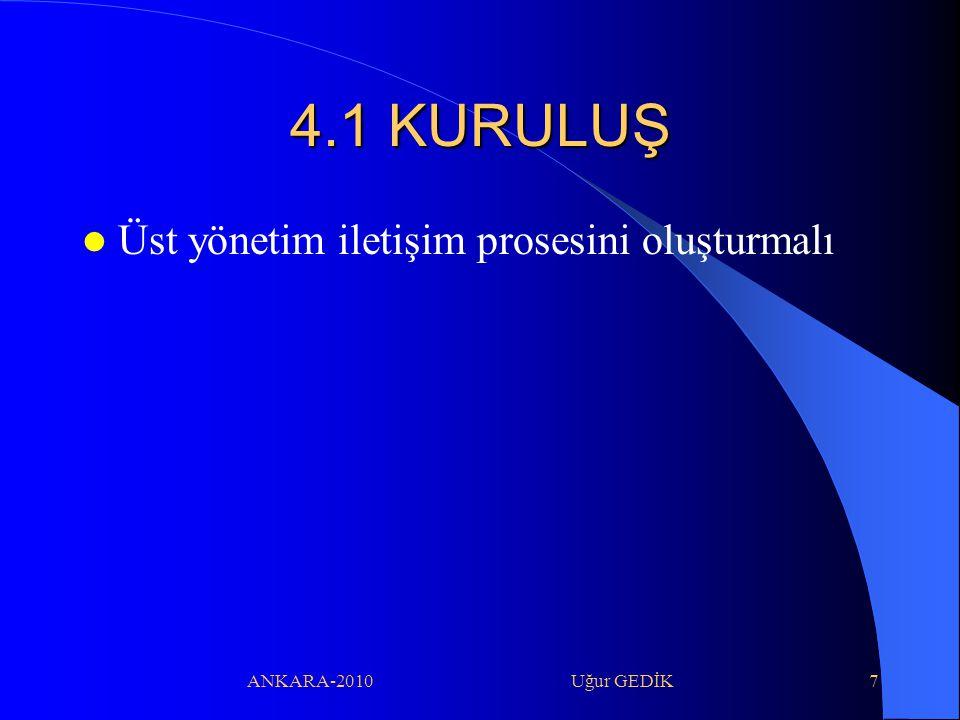 ANKARA-2010 Uğur GEDİK7 4.1 KURULUŞ Üst yönetim iletişim prosesini oluşturmalı