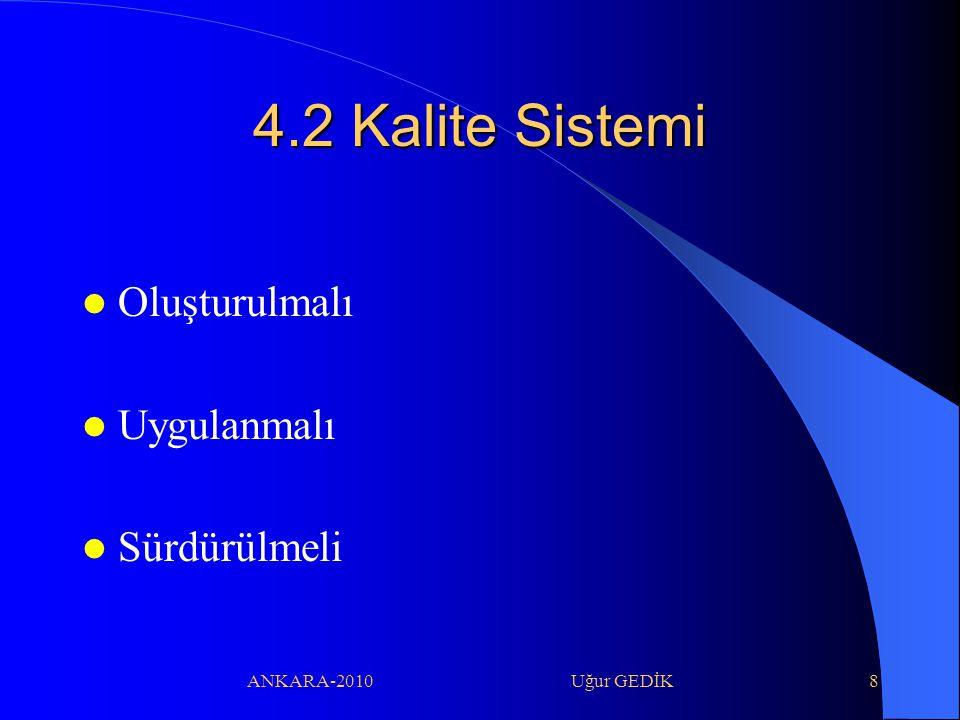ANKARA-2010 Uğur GEDİK9 4.2 Kalite Sistemi Deney sonuçlarının kalitesini güvenceye almak için politika, sistem, program, prosedür ve talimatları dokümante etmelidir.