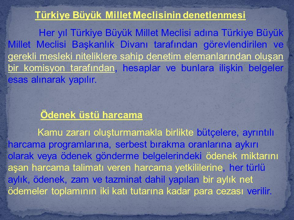 Türkiye Büyük Millet Meclisinin denetlenmesi Her yıl Türkiye Büyük Millet Meclisi adına Türkiye Büyük Millet Meclisi Başkanlık Divanı tarafından görev