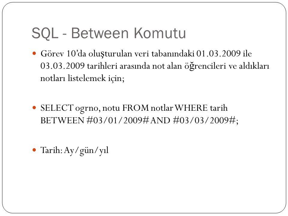SQL - Between Komutu Görev 10'da olu ş turulan veri tabanındaki 01.03.2009 ile 03.03.2009 tarihleri arasında not alan ö ğ rencileri ve aldıkları notla