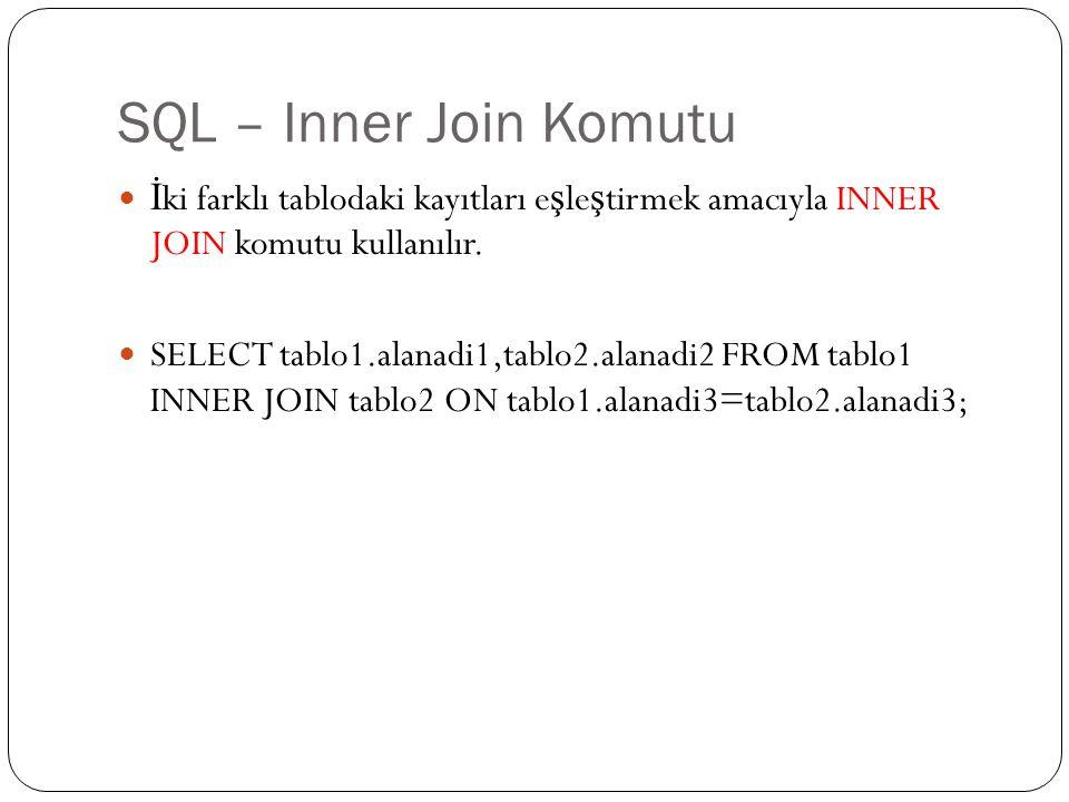 SQL – Inner Join Komutu İ ki farklı tablodaki kayıtları e ş le ş tirmek amacıyla INNER JOIN komutu kullanılır. SELECT tablo1.alanadi1,tablo2.alanadi2