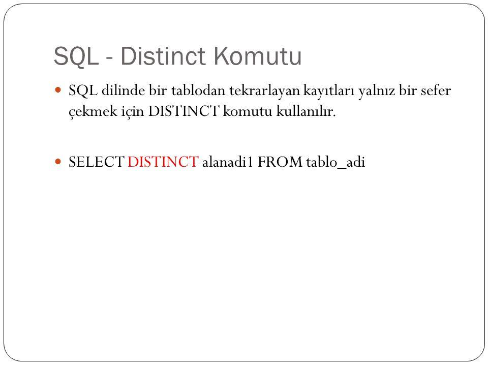 SQL - Distinct Komutu Görev 10'da olu ş turulan veri tabanındaki önemli sayfa yapılan sayfaların neler oldu ğ unu görüntülemek için (her bir sayfa bir kez listelenecek ş ekilde); SELECT DISTINCT icerikno FROM onemli_sayfalar;