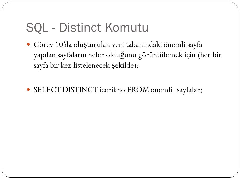 SQL - Count Komutu SQL dilinde bir tablodaki kayıtların toplam sayısını belirlemek için COUNT komutu kullanılır.