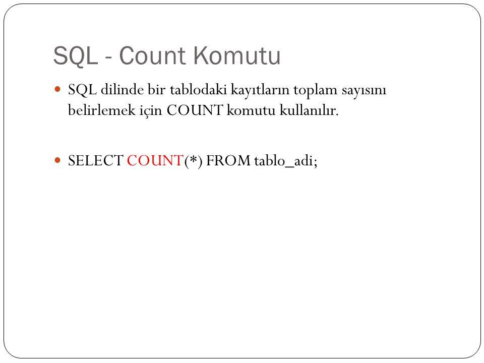 SQL - Count Komutu SQL dilinde bir tablodaki kayıtların toplam sayısını belirlemek için COUNT komutu kullanılır. SELECT COUNT(*) FROM tablo_adi;