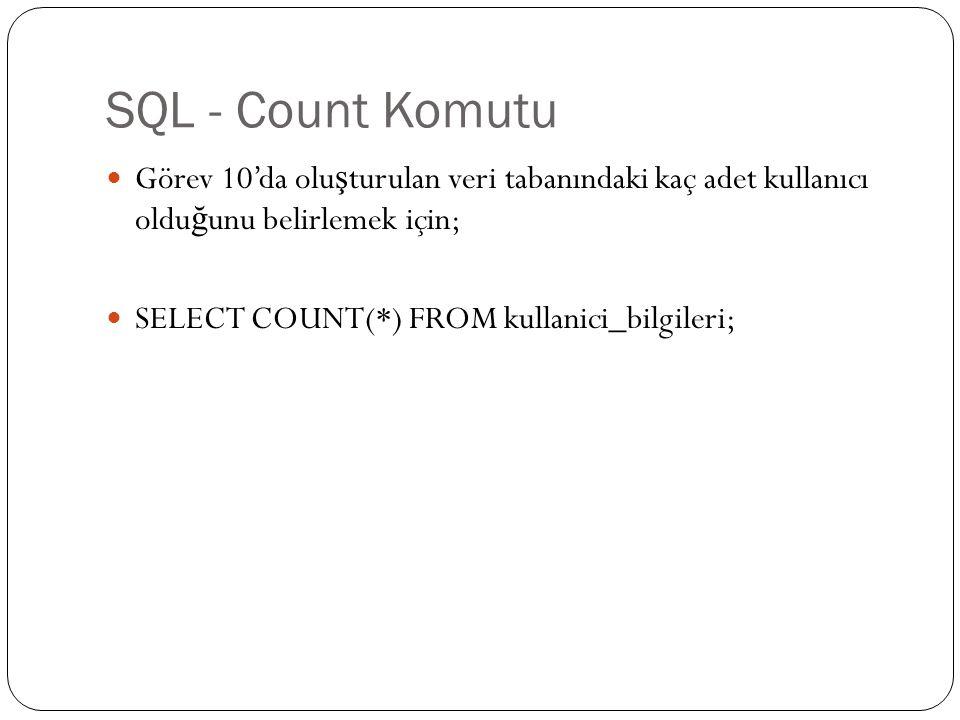 SQL – İç İçe Select Görev 10'da olu ş turulan veri tabanında kaç farklı arayüz seçimi yapıldı ğ ını belirleyin.