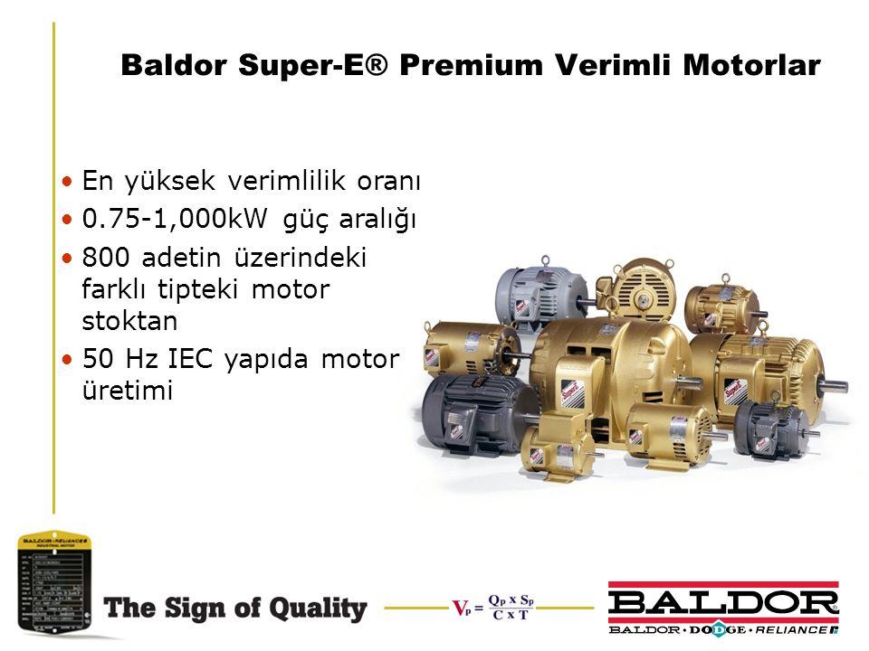 Baldor Super-E® Premium Verimli Motorlar En yüksek verimlilik oranı 0.75-1,000kW güç aralığı 800 adetin üzerindeki farklı tipteki motor stoktan 50 Hz