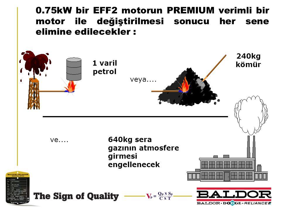 0.75kW bir EFF2 motorun PREMIUM verimli bir motor ile değiştirilmesi sonucu her sene elimine edilecekler : 1 varil petrol 240kg kömür 640kg sera gazın
