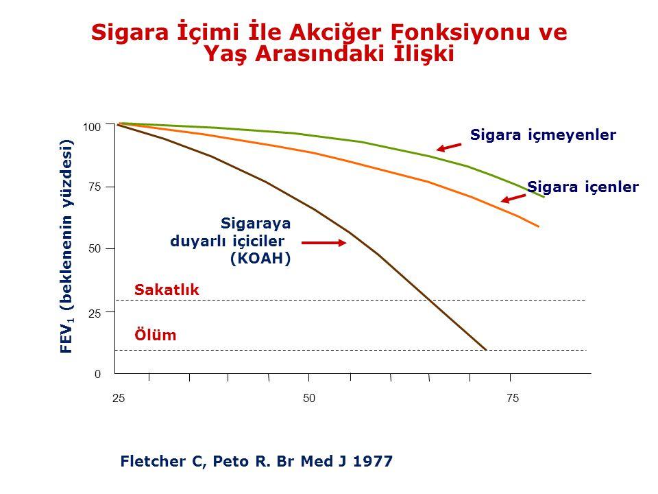 Sigara İçimi İle Akciğer Fonksiyonu ve Yaş Arasındaki İlişki 100 75 50 25 0 Sigaraya duyarlı içiciler (KOAH) Sigara içmeyenler Sakatlık Ölüm FEV 1 (be