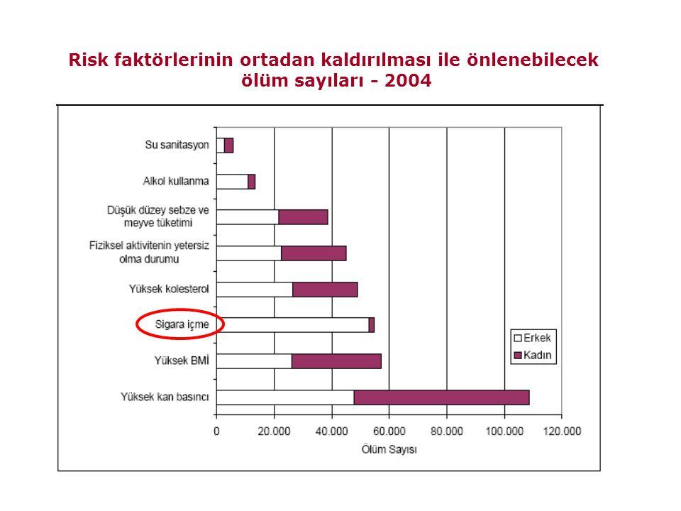 Risk faktörlerinin ortadan kaldırılması ile önlenebilecek ölüm sayıları - 2004