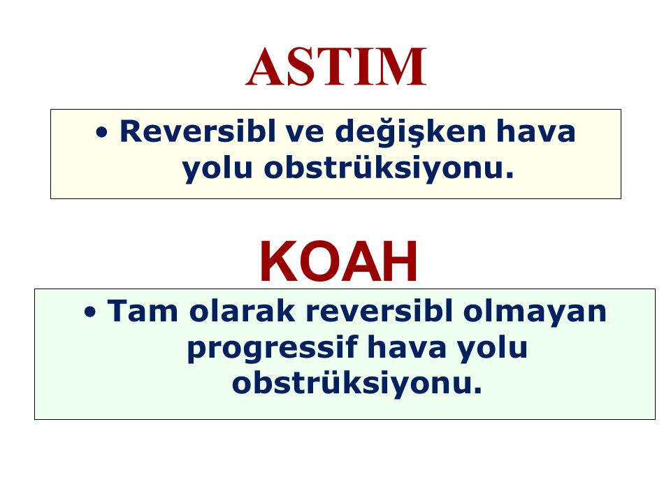 Reversibl ve değişken hava yolu obstrüksiyonu. ASTIM KOAH Tam olarak reversibl olmayan progressif hava yolu obstrüksiyonu.