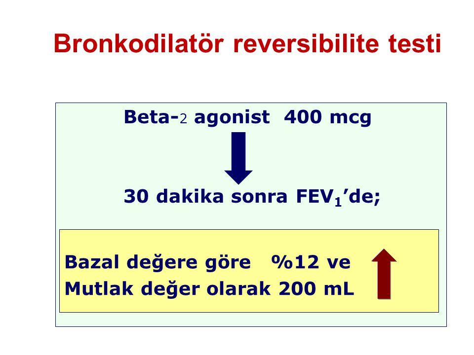 Bronkodilatör reversibilite testi Beta- 2 agonist 400 mcg 30 dakika sonra FEV 1 'de; Bazal değere göre %12 ve Mutlak değer olarak 200 mL