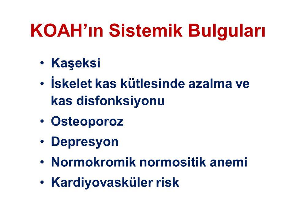 KOAH'ın Sistemik Bulguları Kaşeksi İskelet kas kütlesinde azalma ve kas disfonksiyonu Osteoporoz Depresyon Normokromik normositik anemi Kardiyovasküle
