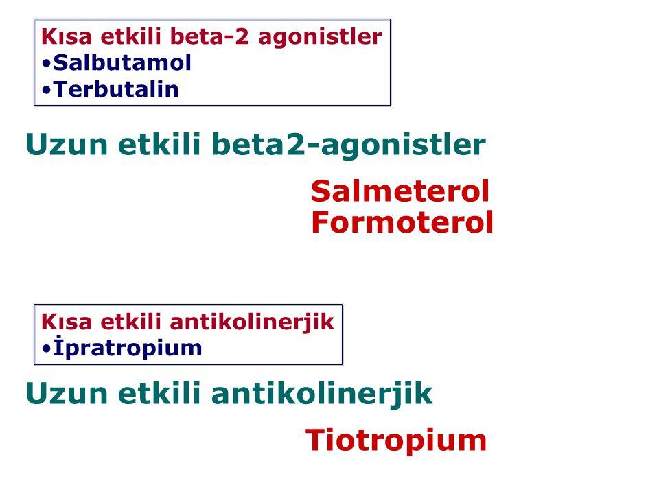 Uzun etkili beta2-agonistler Salmeterol Formoterol Uzun etkili antikolinerjik Tiotropium Kısa etkili beta-2 agonistler Salbutamol Terbutalin Kısa etki