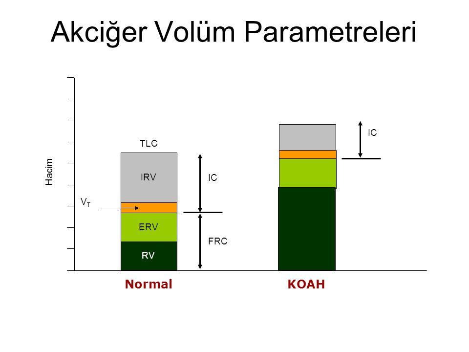 Akciğer Volüm Parametreleri Hacim VTVT KOAH IC Normal RV IC TLC FRC ERV IRV