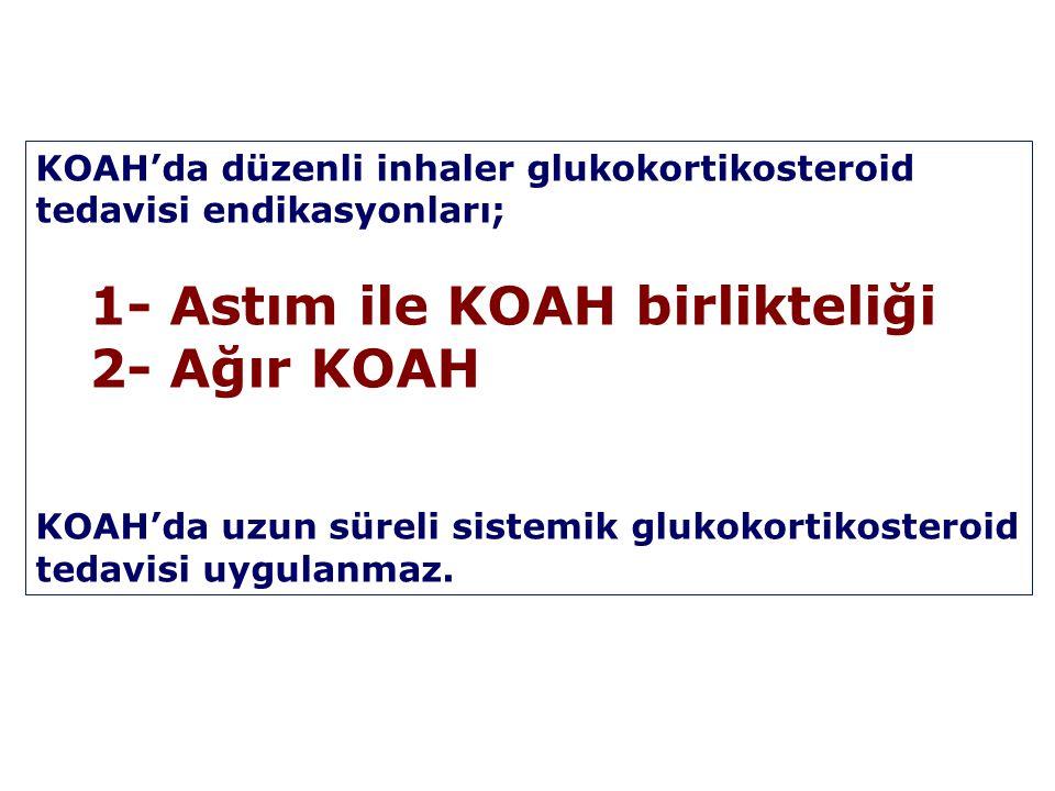 KOAH'da düzenli inhaler glukokortikosteroid tedavisi endikasyonları; 1- Astım ile KOAH birlikteliği 2- Ağır KOAH KOAH'da uzun süreli sistemik glukokor