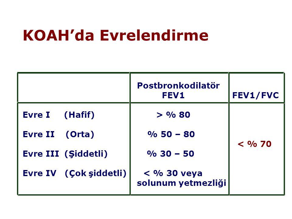 KOAH'da Evrelendirme Postbronkodilatör FEV1 FEV1/FVC Evre I (Hafif) > % 80 Evre II (Orta) % 50 – 80 < % 70 Evre III (Şiddetli) % 30 – 50 Evre IV (Çok