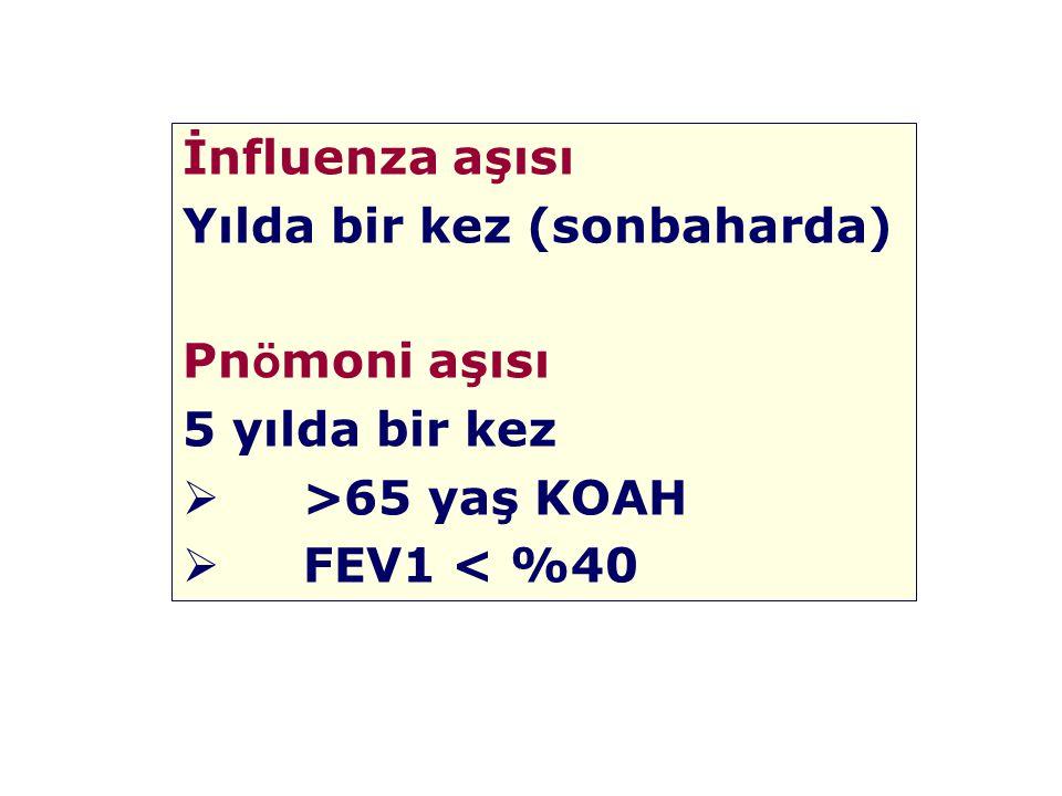 İnfluenza aşısı Yılda bir kez (sonbaharda) Pn ö moni aşısı 5 yılda bir kez  >65 yaş KOAH  FEV1 < %40
