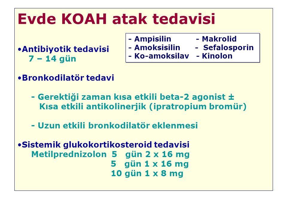Evde KOAH atak tedavisi Antibiyotik tedavisi 7 – 14 gün Bronkodilatör tedavi - Gerektiği zaman kısa etkili beta-2 agonist ± Kısa etkili antikolinerjik