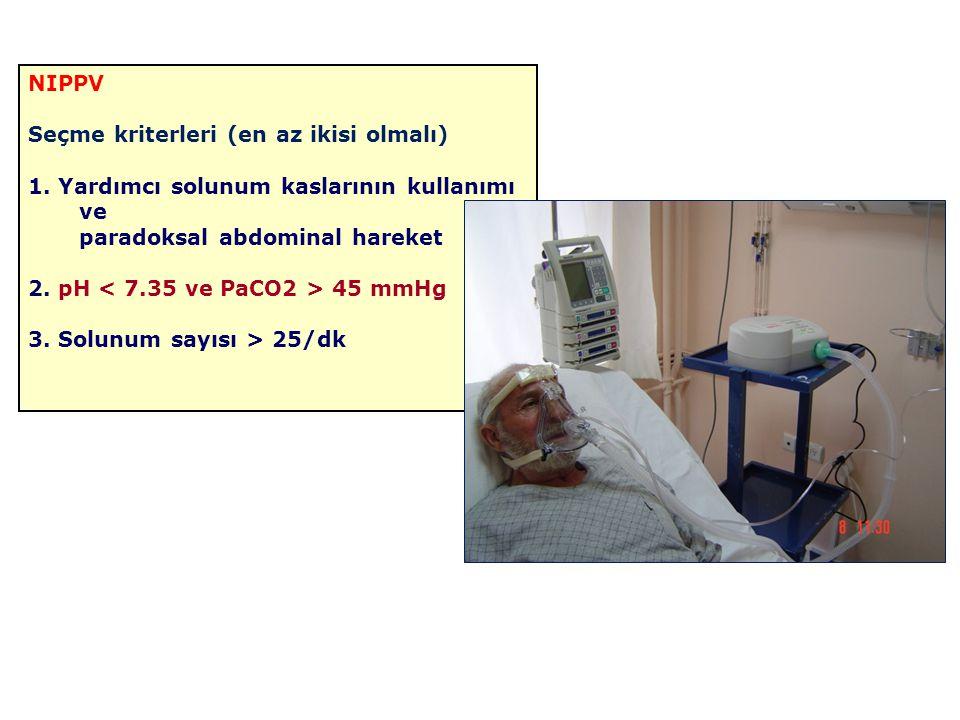 NIPPV Seçme kriterleri (en az ikisi olmalı) 1. Yardımcı solunum kaslarının kullanımı ve paradoksal abdominal hareket 2. pH 45 mmHg 3. Solunum sayısı >