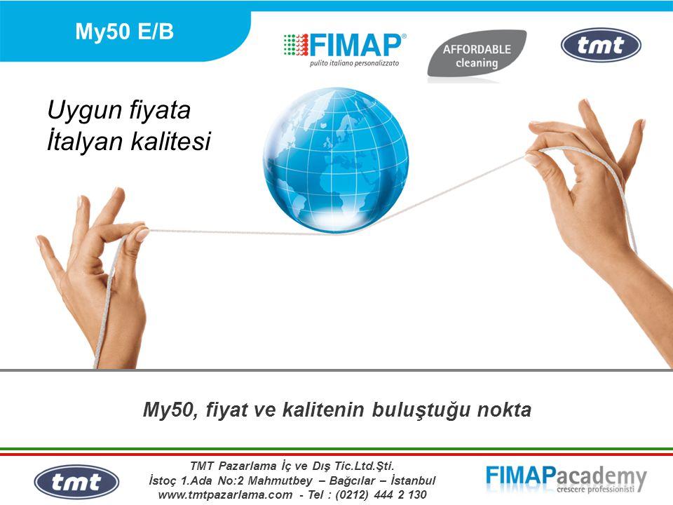 My50 E/B Özellikler Yer Yıkama Otomatı: Fırça Genişliği: Yürüyüş Hızı: Güç Kaynağı: Çalışma Süresi: Arkadan itmeli 51/53/55 cm tek fırça 3,5 Km/h'ye kadar Elektrikli veya Akülü 3 saate kadar (Akülü versiyon) Kullanımı ve bakımı çok kolay Makul Fiyat Yüksek Kalite TMT Pazarlama İç ve Dış Tic.Ltd.Şti.