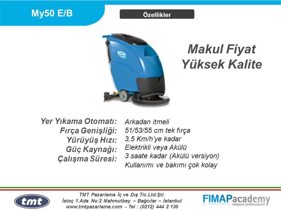 My50 E/B Özellikler Yer Yıkama Otomatı: Fırça Genişliği: Yürüyüş Hızı: Güç Kaynağı: Çalışma Süresi: Arkadan itmeli 51/53/55 cm tek fırça 3,5 Km/h'ye k