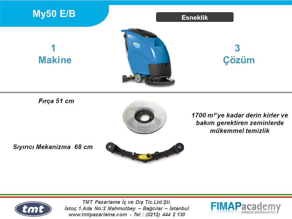 My50 E/B Esneklik 1700 m²'ye kadar derin kirler ve bakım gerektiren zeminlerde mükemmel temizlik 1 Makine Fırça 51 cm 3 Çözüm Sıyırıcı Mekanizma 68 cm