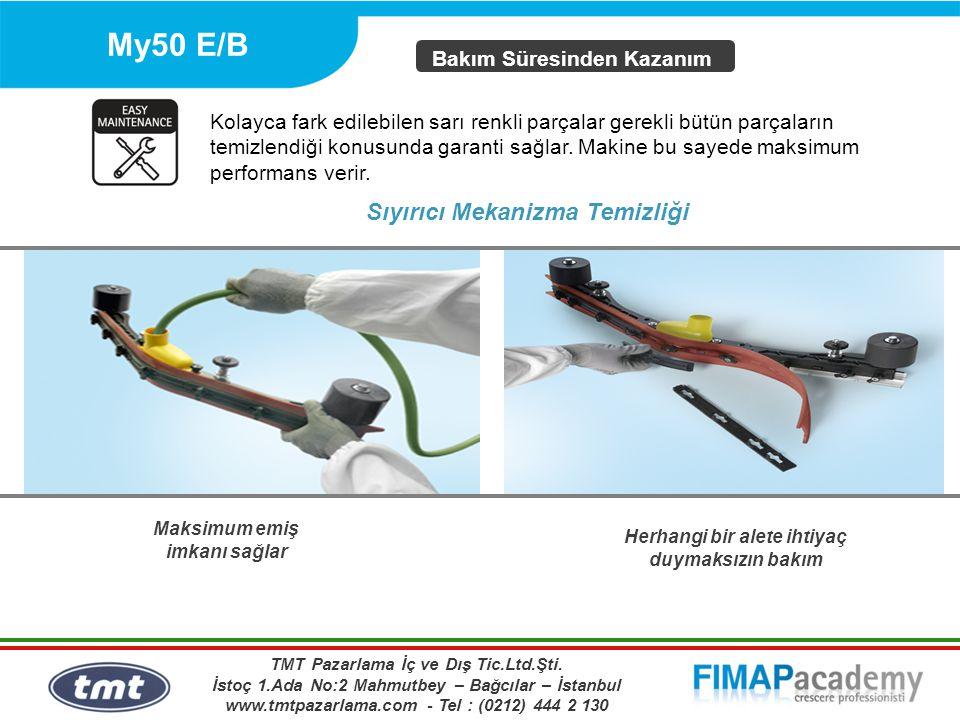 My50 E/B Maksimum emiş imkanı sağlar Bakım Süresinden Kazanım Sıyırıcı Mekanizma Temizliği Herhangi bir alete ihtiyaç duymaksızın bakım Kolayca fark e