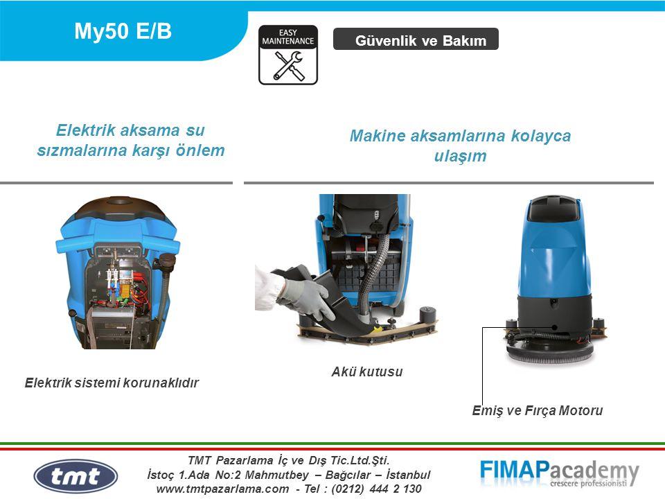 My50 E/B Elektrik sistemi korunaklıdır Elektrik aksama su sızmalarına karşı önlem Güvenlik ve Bakım Akü kutusu Emiş ve Fırça Motoru Makine aksamlarına