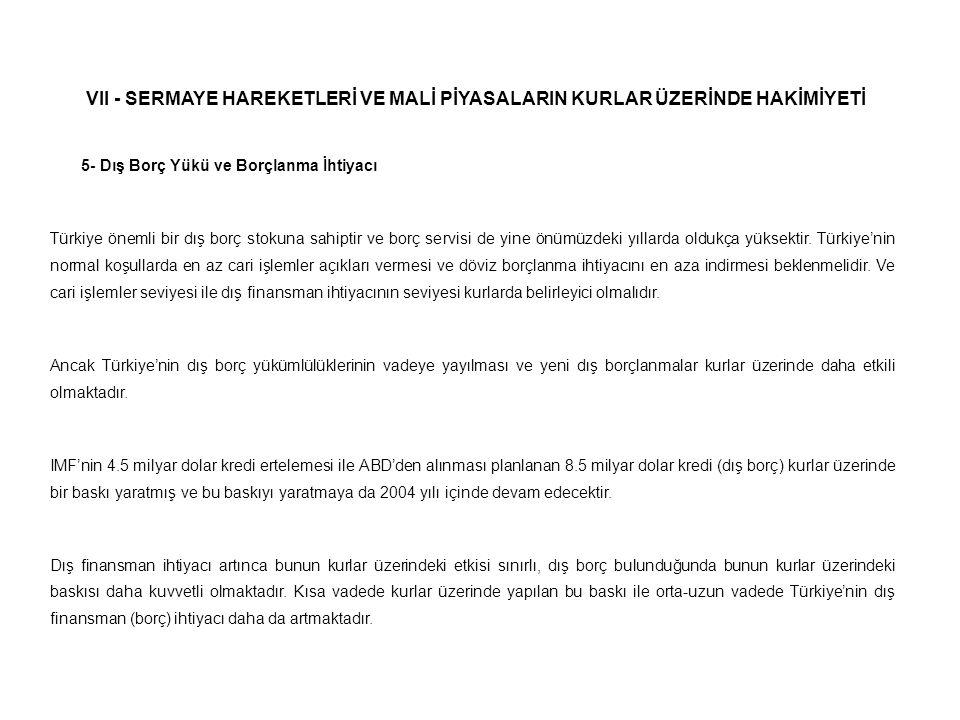 VII - SERMAYE HAREKETLERİ VE MALİ PİYASALARIN KURLAR ÜZERİNDE HAKİMİYETİ 5- Dış Borç Yükü ve Borçlanma İhtiyacı Türkiye önemli bir dış borç stokuna sa
