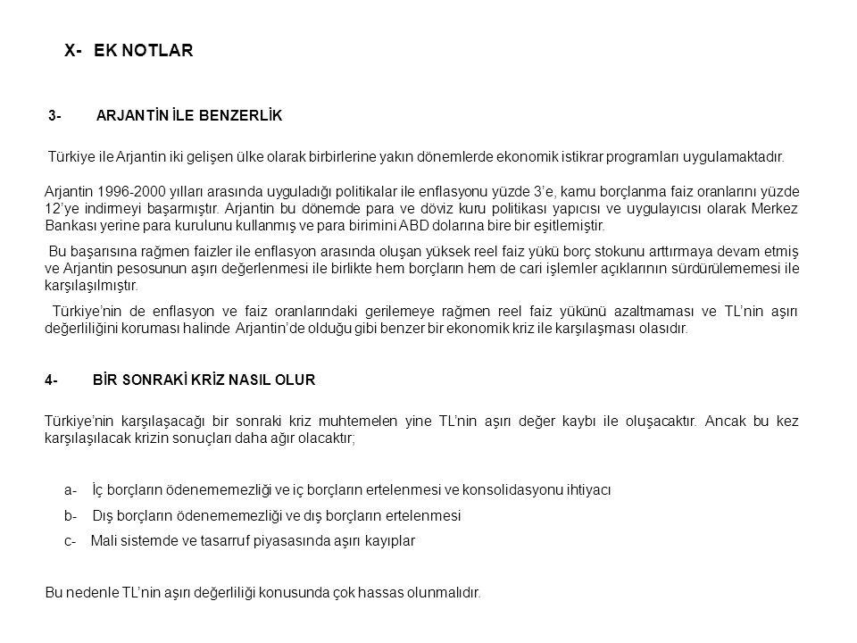 X- EK NOTLAR 3- ARJANTİN İLE BENZERLİK Türkiye ile Arjantin iki gelişen ülke olarak birbirlerine yakın dönemlerde ekonomik istikrar programları uygula