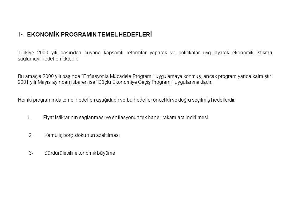 I- EKONOMİK PROGRAMIN TEMEL HEDEFLERİ Türkiye 2000 yılı başından buyana kapsamlı reformlar yaparak ve politikalar uygulayarak ekonomik istikrarı sağla