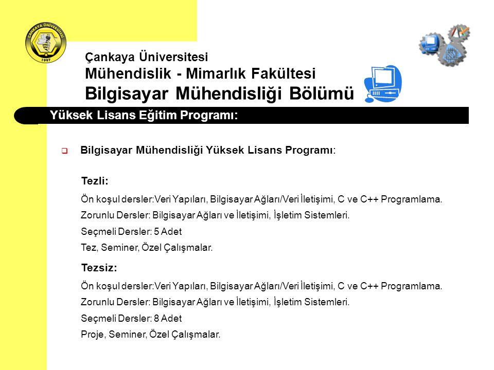 Yüksek Lisans Eğitim Programı: Çankaya Üniversitesi Mühendislik - Mimarlık Fakültesi Bilgisayar Mühendisliği Bölümü  Bilgisayar Mühendisliği Yüksek L