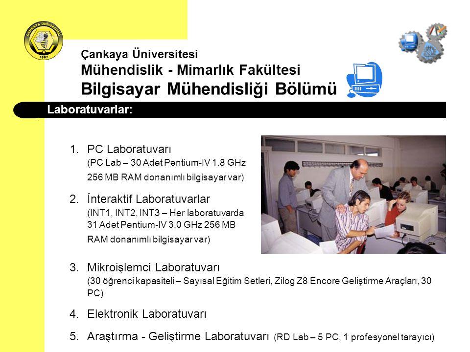 Laboratuvarlar: 1.PC Laboratuvarı (PC Lab – 30 Adet Pentium-IV 1.8 GHz 256 MB RAM donanımlı bilgisayar var) 2.İnteraktif Laboratuvarlar (INT1, INT2, I