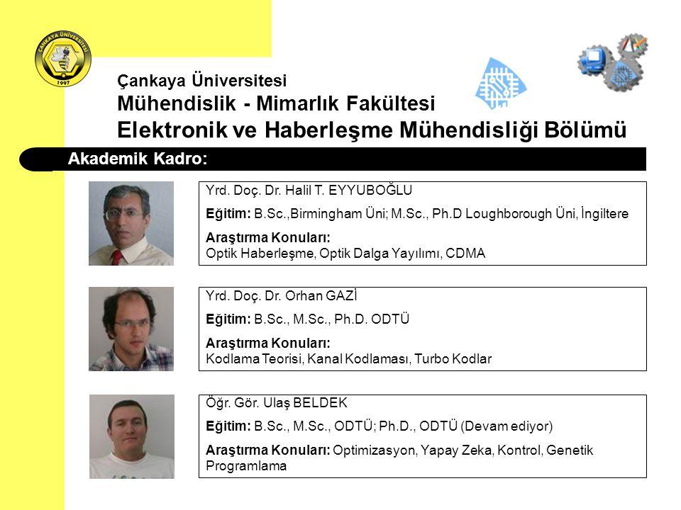 Akademik Kadro: Yrd. Doç. Dr. Halil T. EYYUBOĞLU Eğitim: B.Sc.,Birmingham Üni; M.Sc., Ph.D Loughborough Üni, İngiltere Araştırma Konuları: Optik Haber
