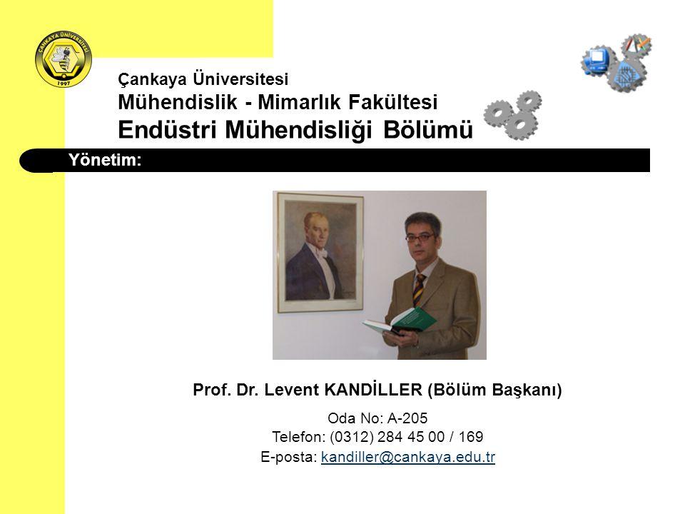 Yönetim: Prof. Dr. Levent KANDİLLER (Bölüm Başkanı) Oda No: A-205 Telefon: (0312) 284 45 00 / 169 E-posta: kandiller@cankaya.edu.trkandiller@cankaya.e