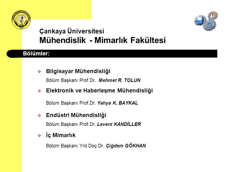 Çankaya Üniversitesi Mühendislik - Mimarlık Fakültesi  Bilgisayar Mühendisliği Bölüm Başkanı Prof.Dr. Mehmet R. TOLUN  Elektronik ve Haberleşme Mühe
