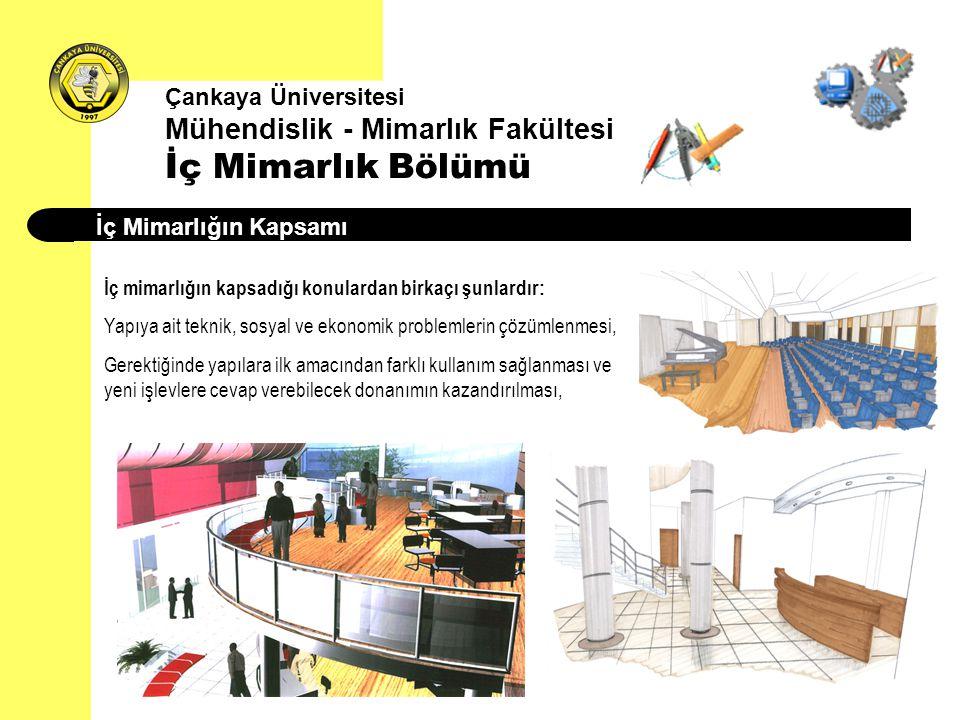 Çankaya Üniversitesi Mühendislik - Mimarlık Fakültesi İç Mimarlık Bölümü İç Mimarlığın Kapsamı İç mimarlığın kapsadığı konulardan birkaçı şunlardır: Y
