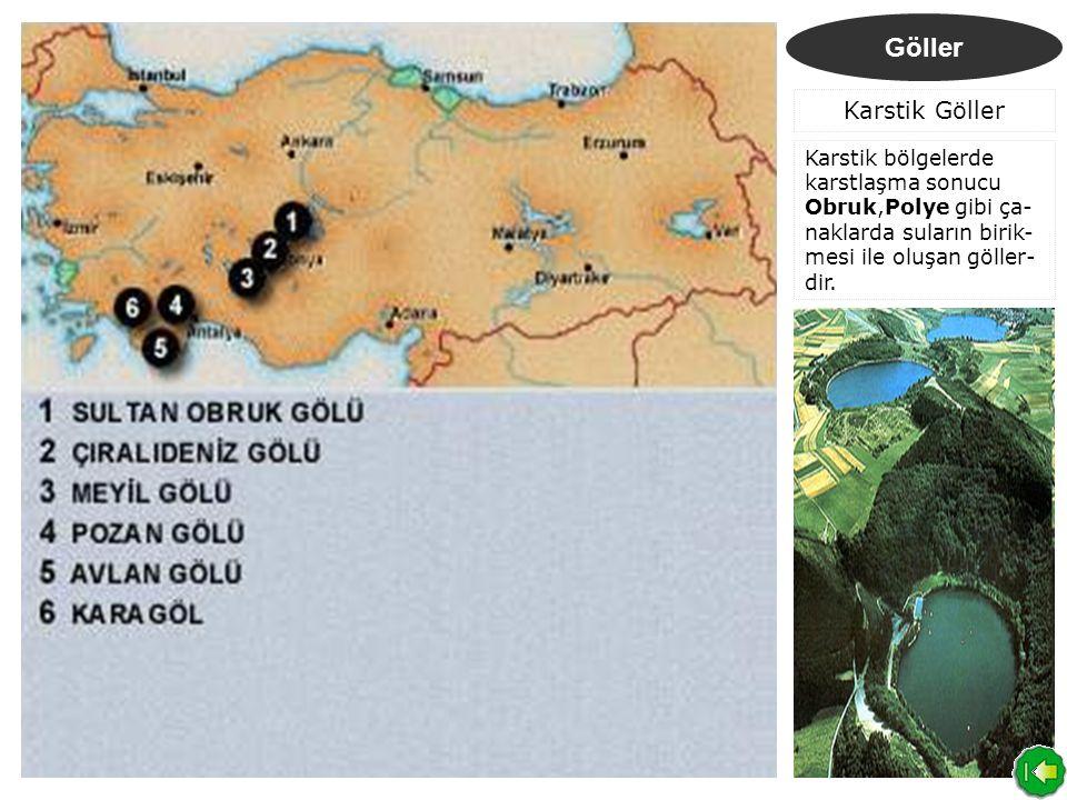 Göller Karstik Göller Karstik bölgelerde karstlaşma sonucu Obruk,Polye gibi ça- naklarda suların birik- mesi ile oluşan göller- dir.