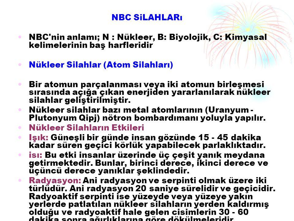 NBC SiLAHLARı NBC'nin anlamı; N : Nükleer, B: Biyolojik, C: Kimyasal kelimelerinin baş harfleridir Nükleer Silahlar (Atom Silahları) Bir atomun parçal