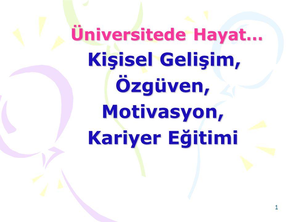 1 Üniversitede Hayat… Üniversitede Hayat… Kişisel Gelişim, Kişisel Gelişim, Özgüven, Özgüven, Motivasyon, Motivasyon, Kariyer Eğitimi Kariyer Eğitimi