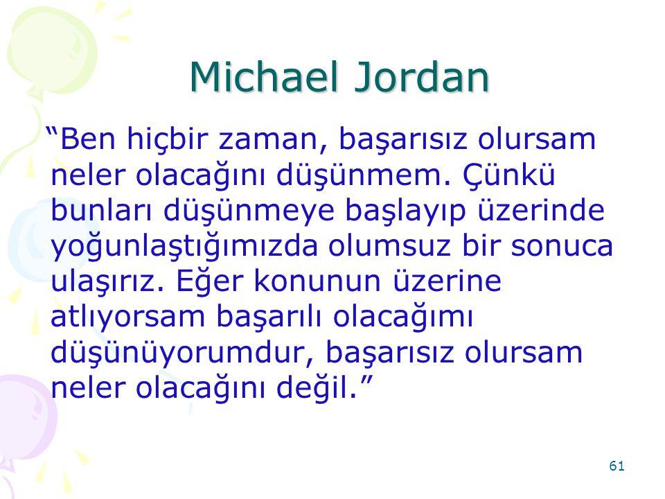 """61 Michael Jordan Michael Jordan """"Ben hiçbir zaman, başarısız olursam neler olacağını düşünmem. Çünkü bunları düşünmeye başlayıp üzerinde yoğunlaştığı"""