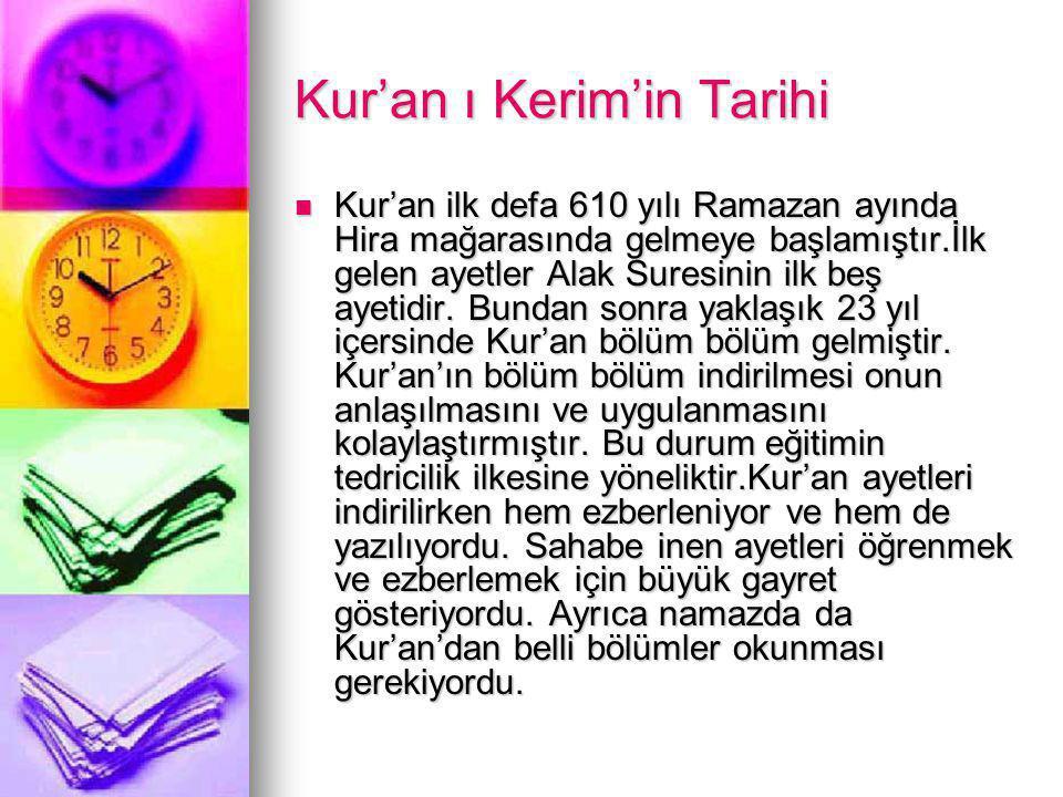 Kur'an ı Kerim'in Tarihi Kur'an ilk defa 610 yılı Ramazan ayında Hira mağarasında gelmeye başlamıştır.İlk gelen ayetler Alak Suresinin ilk beş ayetidir.