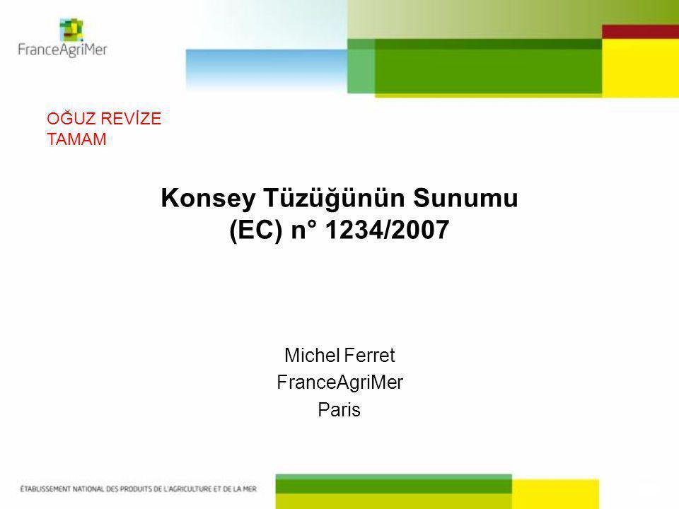 Konsey Tüzüğünün Sunumu (EC) n° 1234/2007 Michel Ferret FranceAgriMer Paris OĞUZ REVİZE TAMAM
