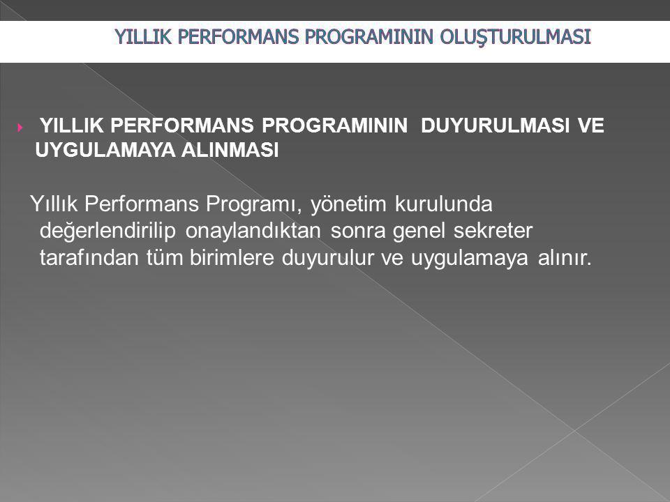  YILLIK PERFORMANS PROGRAMININ DUYURULMASI VE UYGULAMAYA ALINMASI Yıllık Performans Programı, yönetim kurulunda değerlendirilip onaylandıktan sonra genel sekreter tarafından tüm birimlere duyurulur ve uygulamaya alınır.