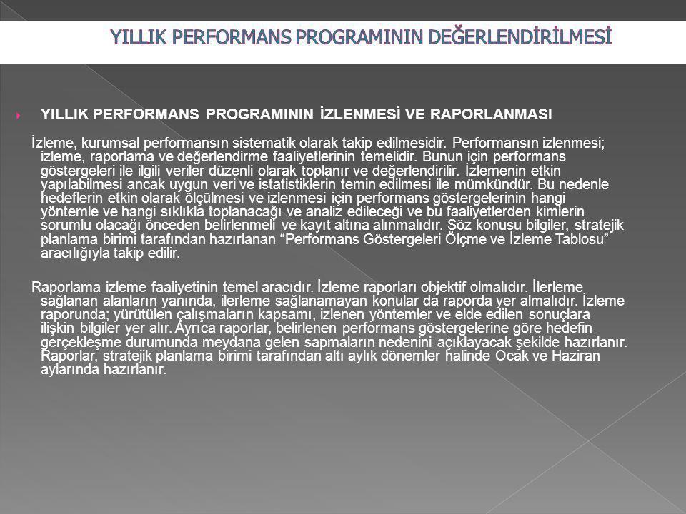  YILLIK PERFORMANS PROGRAMININ İZLENMESİ VE RAPORLANMASI İzleme, kurumsal performansın sistematik olarak takip edilmesidir. Performansın izlenmesi; i