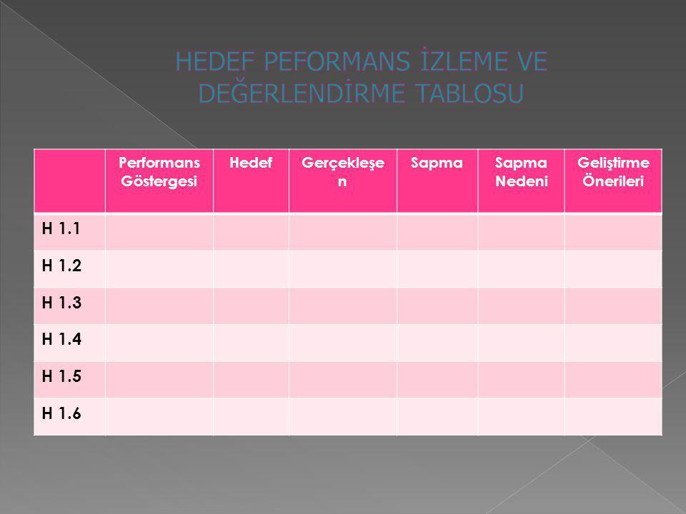 Performans Göstergesi HedefGerçekleşe n SapmaSapma Nedeni Geliştirme Önerileri H 1.1 H 1.2 H 1.3 H 1.4 H 1.5 H 1.6