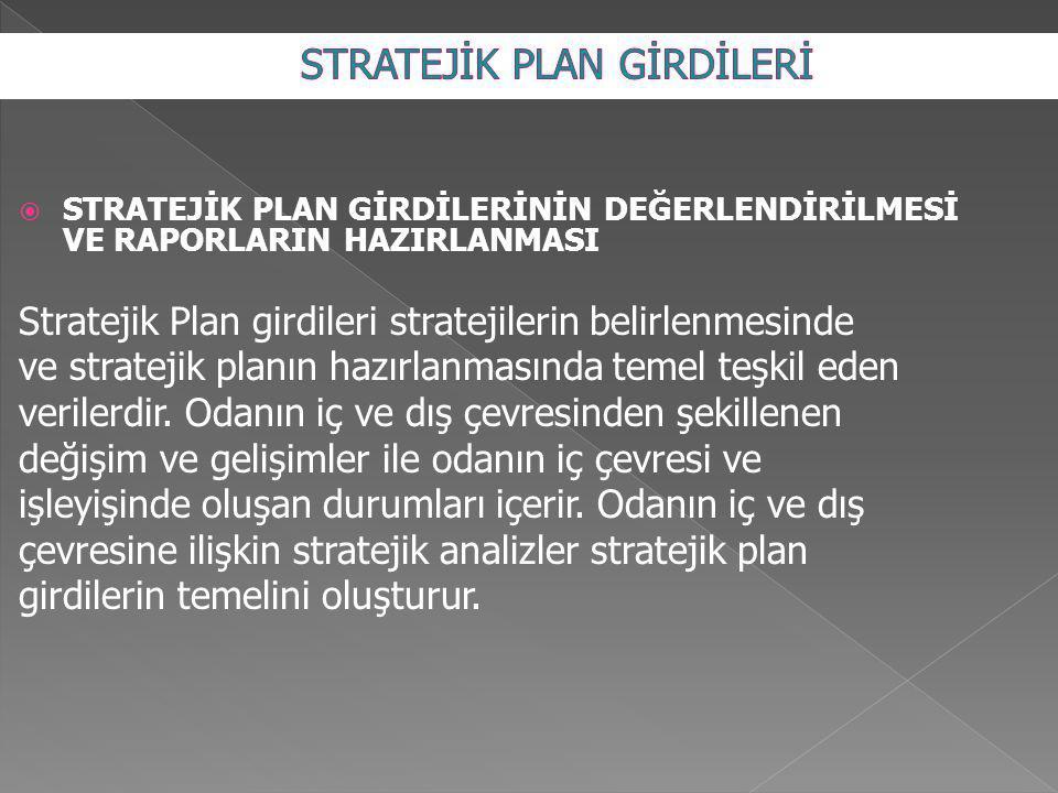  STRATEJİK PLAN GİRDİLERİNİN DEĞERLENDİRİLMESİ VE RAPORLARIN HAZIRLANMASI Stratejik Plan girdileri stratejilerin belirlenmesinde ve stratejik planın hazırlanmasında temel teşkil eden verilerdir.