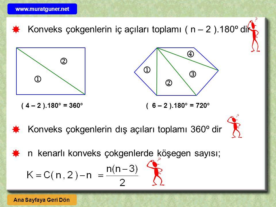 Konveks çokgenlerin iç açıları toplamı ( n – 2 ).180º dir       ( 4 – 2 ).180° = 360°( 6 – 2 ).180° = 720° Konveks çokgenlerin dış açıları topla
