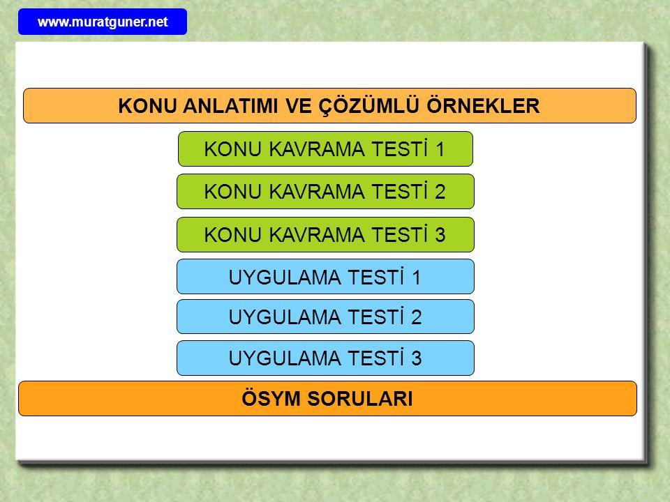 KONU ANLATIMI VE ÇÖZÜMLÜ ÖRNEKLER UYGULAMA TESTİ 1 UYGULAMA TESTİ 2 UYGULAMA TESTİ 3 ÖSYM SORULARI KONU KAVRAMA TESTİ 1 KONU KAVRAMA TESTİ 2 www.muratguner.net KONU KAVRAMA TESTİ 3